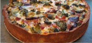 Quiche met broccoli, champignons en spekjes