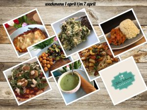 Weekmenu week 1 april t/m 7 april