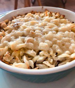 Rösti ovenschotel met spinazie, pistachenootjes en spekjes