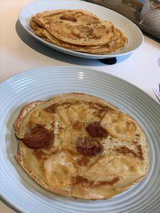 Pannenkoeken met geitenkaas + chorizo