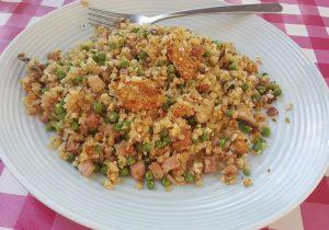 Bloemkoolrijst met kastanje champignons en falafel