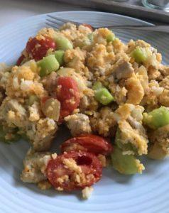 Couscous met varkensreepjes en groente
